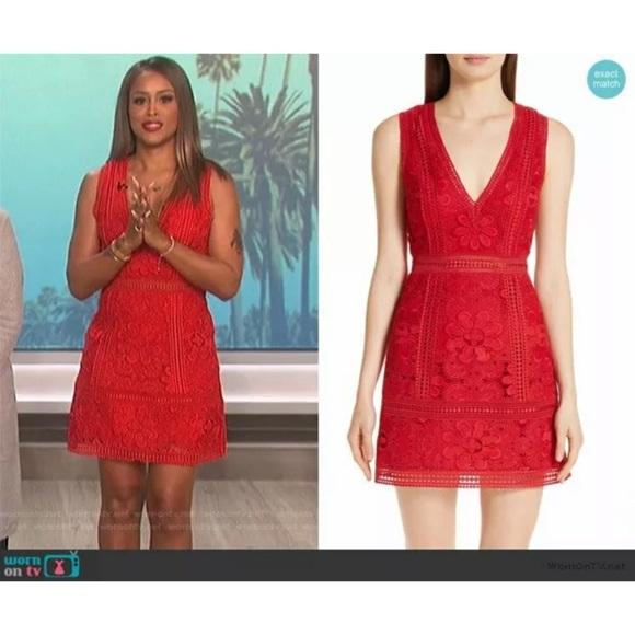 44979657cef1 Alice + Olivia Dresses & Skirts - Alice + Olivia Zula Red Floral Lace Mini  Dress